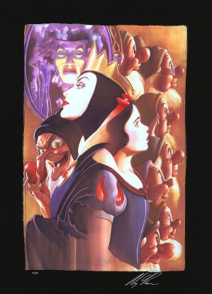 Alex Ross Disney-Once There Was a Princess From Beauty and The Beast Chiarograph on Black Paper