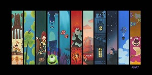 Daniel Arriaga-The Pixar Storyline Hand Embellished Giclee on Canvas