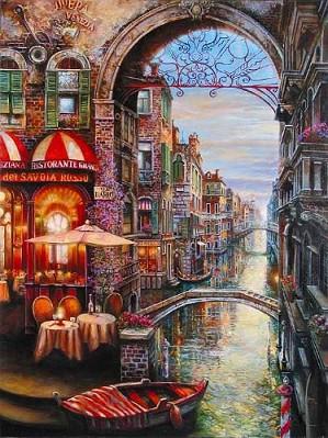 Suljakov-Via Dario H/E Giclee on Hand-Textured Canvas