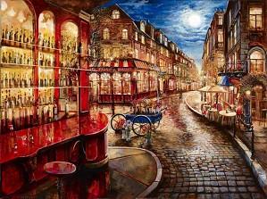 Suljakov-Bar en Rouge H/E Giclee on Hand-Textured Canvas