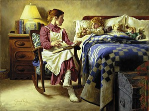 Jim Daly-Bedtime Story W/gift Print Her First Love L.e.print