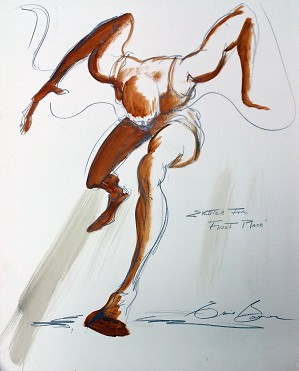 Ernie Barnes-FIRST PLACE ORIGINAL SKETCH ON PAPER
