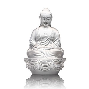 Liuli Crystal-Sakyamuni Buddha - Buddha Figurine (Accompanied by Peace and Joy)