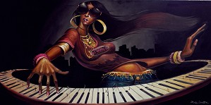 Frank Morrison-DIVA N KEYS GICLEE ON CANVAS REMARQUES