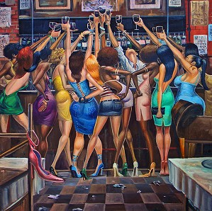 Frank Morrison-LADIES NIGHT GICLEE ON CANVAS