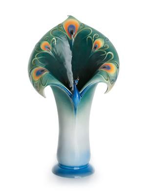 Franz Porcelain-Peacock Splendor vase