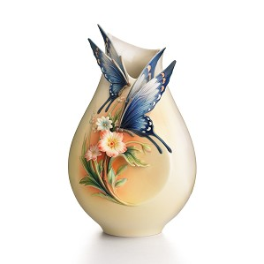 Franz Porcelain-Fluttering Beauty flower and butterfly small vase