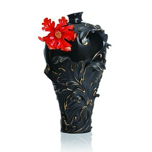 Franz Porcelain-Baroque Red Lily Collection Large Vase
