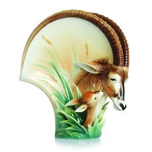 Franz Porcelain-Sable Antelope Porcelain Vase