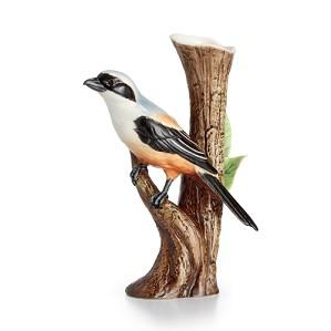 Franz Porcelain-Long Tailed Shrike Bird Porcelain Vase