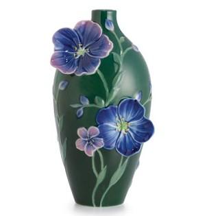 Franz Porcelain-Blue Flax Flower Porcelain Vase