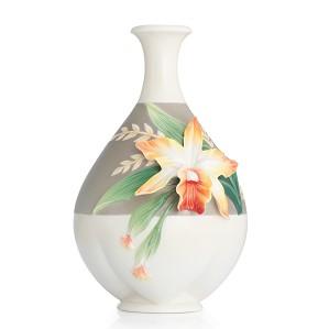 Franz Porcelain-Vase, Cattleya Orchid small
