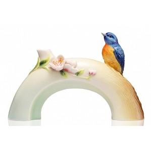 Franz Porcelain-Vase-Plum-Blossom-&-Vivid-Niltava