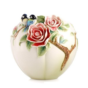 Franz Porcelain-Joyful Spring Blue Chickadee and Camellia Vase
