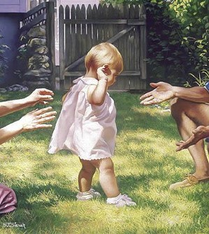 Tom Sierak-Baby's First Steps Canvas Giclee