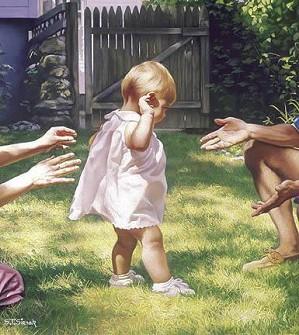 Tom Sierak-Baby's First Steps Canvas Giclee