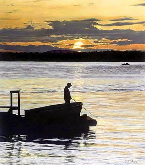 Tom Sierak-Fisherman's Solitude Canvas Giclee