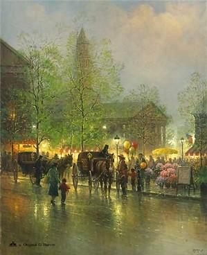 G Harvey-Quincy Market Serigraph on Paper