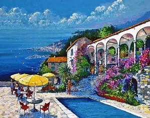 Kerry Hallam-Mediterranean Villa Canvas