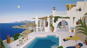 Thomas McKnight-Sunset Hill-Mykonos Deluxe On Canvas