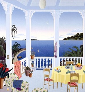 Thomas McKnight-Tropical Evening Deluxe On Canvas