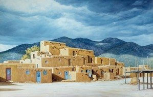 Lorna Patrick-Approaching The Storm Over Taos Pueblo