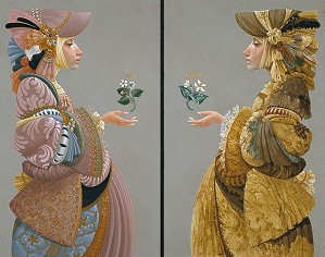 James Christensen-Two Sisters ANNIVERSARY DIPTYCH CANVAS