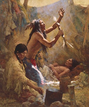 Howard Terpning-Medicine Man of the Cheyenne Masterwork Anniversary Canvas)