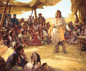 Howard Terpning-Paper That Talks Two Ways, The Treaty Signing Masterwork Canvas Edition)