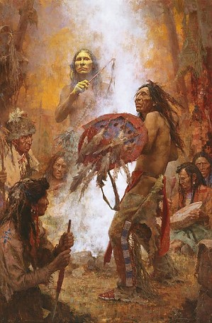 Howard Terpning-Transferring the Medicine Shield (Anniversary Masterwork Canvas)