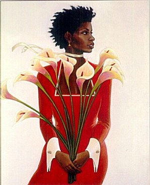 Gilbert Young-Woman In Red Remarque