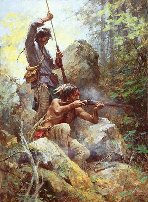 Howard Terpning-White Man Fire Sticks Masterwork Canvas Edition)