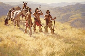 Howard Terpning-Dust of Many Pony Soldiers and Matching 5X7 Print