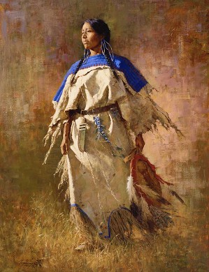 Howard Terpning-Shield of Her Husband and Matching 5 X 7 Print