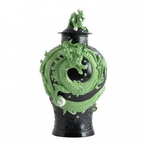 Franz Porcelain-Ginger Jar, Dragon (Black/Green)