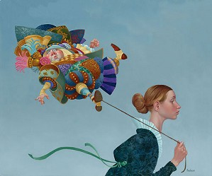 James Christensen-Poofy Guy On A Short Leash Limited Edition Canvas