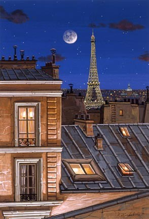 Liudmila Kondakova-Eiffel Tower At Midnight