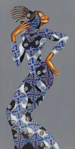 Larry Poncho Brown-Lady Locs   Giclee S/n 75
