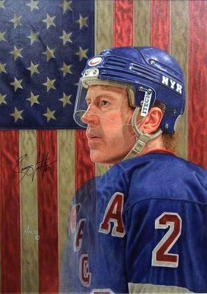 Mike Kupka-Brian Leetch - Oil on Illustration Board Signed by Leetch