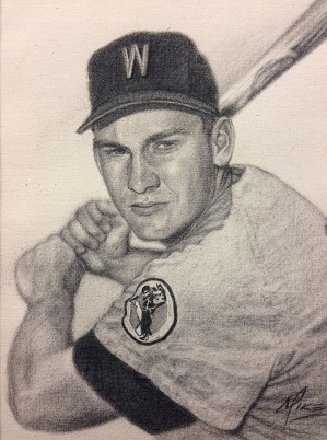 Mike Kupka-Harmon Killebrew - Graphite on Raw Canvas