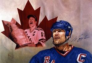 Mike Kupka-Mark Messier - Oil on Illustration Board Signed by Messier