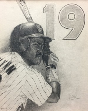 Mike Kupka-Tony Gwynn Graphite on Canvas