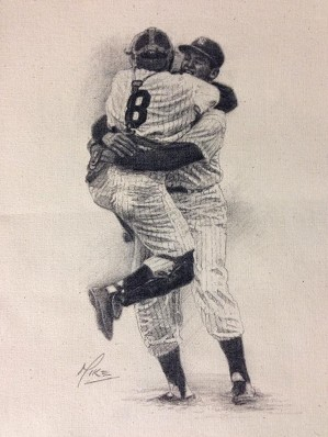 Mike Kupka-Don Larsen/Yogi Berra Perfect Game - Graphite on Raw Canvas