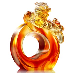 Liuli Crystal-Frolicking Lion Welcomes Auspiciousness
