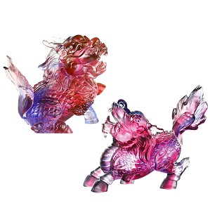 Liuli Crystal-Auspicious Qilin (Set of 2)