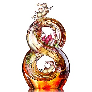 Liuli Crystal-Zodiac (Rabbit) - Lucky No. 8 (Ascending Road of Splendor)