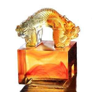 Liuli Crystal-Imperial Seal (Prosperity) - Double Signet of Auspicious Prosperity