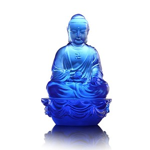 Liuli Crystal-Blue Medicine Buddha - Buddha Figurine (Accompanied by Peace and Joy)