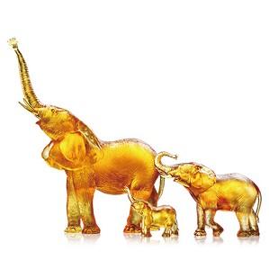 Liuli Crystal-Elephant (Golden Hope) - Golden Life Power (Set of 3)