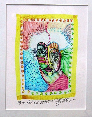 Charles Bibbs-Red Eye Mask Giclee